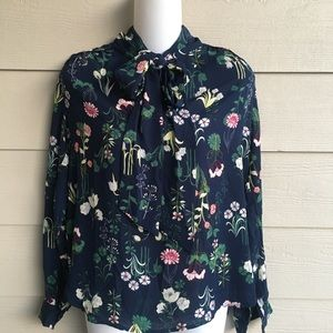 NWT Loft Navy Floral Blouse with Tie Bow XSP